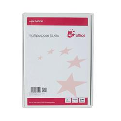 5 Star Office Multipurpose Labels Laser Copier Inkjet 24 per Sheet 64x34mm White 12000 Labels [Pack 500]