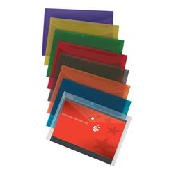 5 Star Office Envelope Wallet Polypropylene A4 W235mmxD335mm Translucent Assorted [Pack 25]