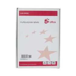 5 Star Office Multipurpose Labels Laser Copier and Inkjet 1 per Sheet 200x288mm White [Pack 500]