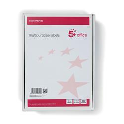 5 Star Office Multipurpose Labels Laser Copier Inkjet 14 per Sheet 99x38mm White 7000 Labels [Pack 500]