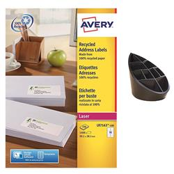 Avery LR7163 QuickPEEL Recycled Addressing Labels White Ref LR7163-100 - 1400 Labels - FREE 100% Recycled Pen Pot