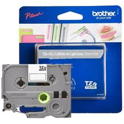 Brother P-touch TZe-MQL35 (12mm x 8m) White On Light Grey Matt Laminated Labelling Tape