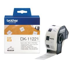 Brother DK Labels DK-11221 (23mm x 23mm) Square Continuous Paper Labels (Black On White) 1 Roll