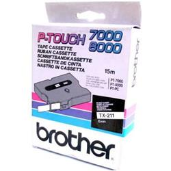 Brother P-touch TX-211 (6mm x 15m) Black On White Gloss Labelling Tape