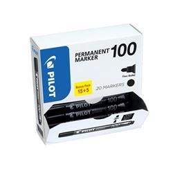 Pilot 100 Permanent Marker Bullet Tip Line 1mm Black Ref 3131910501268 [Pack 15&5 Free] - 2 for 1