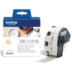 Brother DK Labels DK-11218 (24mm Diameter) Round Continuous Paper Labels (Black On White) 1 Rolll