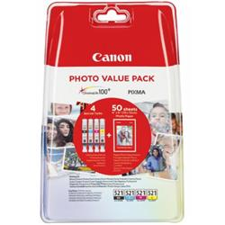 Canon Photo Value Pack 4X6 (50 Sheets of Photo Paper) CLI-521 C/M/Y/K (Pack of 4 Ink Tanks)