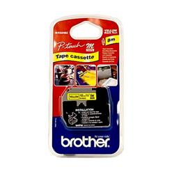 Brother P-touch M-K631BZ (12mm x 8m) Black On Yellow Plastic Labelling Tape