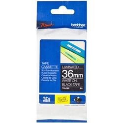 Brother P-touch TZe-365 (36mm x 8m) White On Black Laminated Labelling Tape