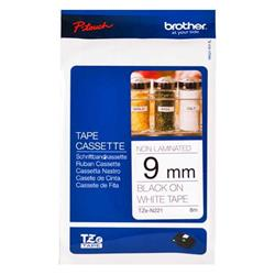 Brother P-touch TZe-N221 (9mm x 8m) Black On White Non-Laminated Labelling Tape