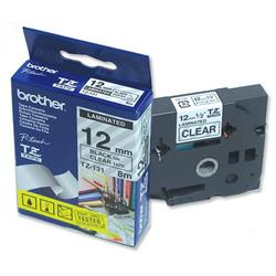 Brother P-touch TZe-131 (12mm x 8m) Black On Clear Laminated Labelling Tape
