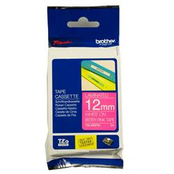 Brother P-touch TZe-MQP35 (12mm x 8m) White On Berry Pink Matt Laminated Labelling Tape
