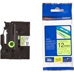 Brother P-touch TZe-C31 (12mm x 5m) Black On Fluorescent Yellow Laminated Labelling Tape
