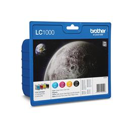 Brother LC1000 Value Pack Multipack Ink Cartridges (Black, Yellow, Cyan, Magenta)
