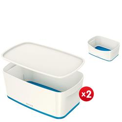 Leitz MyBox Small with lid, white/blue - x2 + FREE Storage Tray Offer