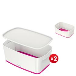 Leitz MyBox Small with lid, white/pink - x2 + FREE Storage Tray Offer