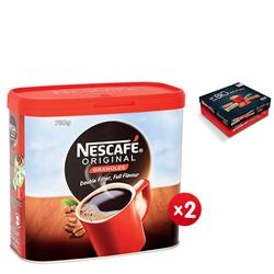 Nescafe Original Instant Coffee Granules Tin 750g Ref 12283921 - x2 & FREE Nestle Big Biscuit Box