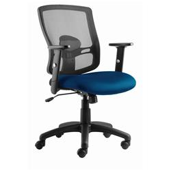 Portland Task Operator Chair Black Back Blue Airmesh Seat With Arms Ref OP000219
