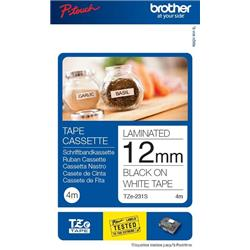 Brother P-Touch TZe-231S (12mm x 4m) Black On White Labelling Tape (Twin Pack)