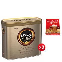 Nescafe Gold Blend Instant Coffee Tin 750g Ref 12284102 - x2 & FREE Nestle Break Pack