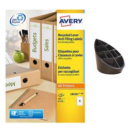 Avery Filing Label Recycled 4 Per Sheet 192x61mm Ref LR4761-100 [400 Labels] - FREE 100% Recycled Pen Pot