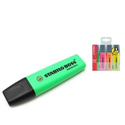 Stabilo Boss Highlighters Chisel Tip 2-5mm Line Green Ref 70/33/10 - Pack 10 - FREE Assorted Highlighters 4 Pack