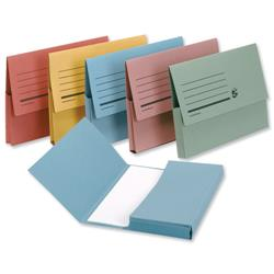 5 Star Office Document Wallet Half Flap 285gsm Capacity 32mm Foolscap Assorted [Pack 50]