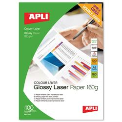 Apli A4 Glossy Laser Paper Double-sided 160gsm Ref 11817 - Pack 100
