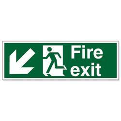 Stewart Superior Fire Exit Sign Man and Arrow Down Left 450x150mm Self-adhesive Vinyl Ref SP122SAV