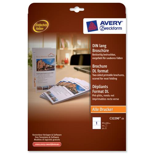 buy avery brochure paper a4 folds on long edge white 99x210mm 190