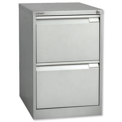 Bisley BS2E Filing Cabinet Flush-front 2-Drawer W470xD622xH711mm Silver Ref 1623-55