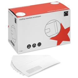 5 Star Office Mail Machine Envelopes Gummed Window 90gsm White DL [Pack 500]