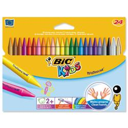 BIC KIDS Plastidecor Crayons Colour Hard Long-lasting Sharpenable Vivid Assorted Ref 829772 - Pack 24
