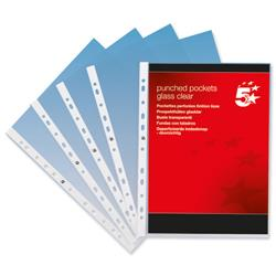 5 Star Office Punched Pocket Polypropylene Top-opening 70 Micron A4 Clear [Pack 100]