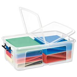 Strata HW675 50 Litre Smart Storemaster Box Folding Lid & Clip Handles Clear Ref HW675CLR