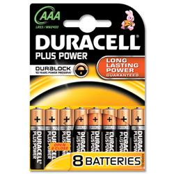 Duracell Plus Battery Alkaline AAA Size 1.5V Ref 7035017 - Pack 8