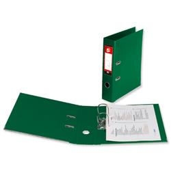 5 Star Office Lever Arch File PVC Spine 70mm A4 Green [Pack 10]
