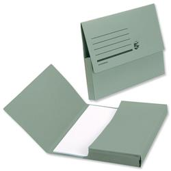 5 Star Office Document Wallet Half Flap 285gsm Capacity 32mm A4 Green [Pack 50]