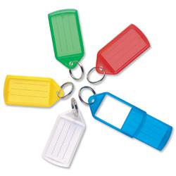 5 Star Facilities Key Hanger Sliding Fob Label Area 55x30mm Tag Size Large 75x37mm Assorted [Pack 10]