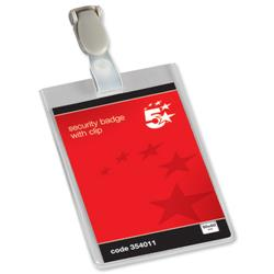 5 Star Office Name Badges Security Portrait with Plastic Clip 90x60mm [Pack 25]
