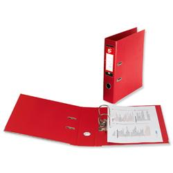 5 Star Office Lever Arch File PVC Spine 70mm A4 Red [Pack 10]