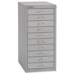 Bisley SoHo Multidrawer Storage Cabinet Steel 10-Drawer W279xD380xH590mm Silver Ref 069 55