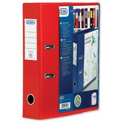 Elba Lever Arch File with Clear PVC Cover 70mm Spine A4 Red Ref 650002 - Pack 10