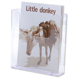 Flatback Literature Holder Wall Mounted Single Pocket Portrait A5 Clear