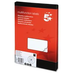 5 Star Office Labels Laser Copier and Inkjet 70x42.4mm 21 per Sheet [2100 Labels]