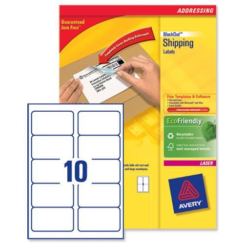 avery l7173b blockout shipping labels 10 per sheet 99 1x57mm ref