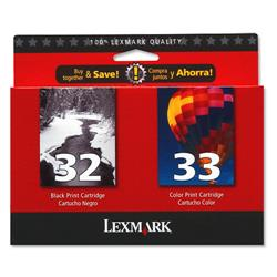 Lexmark No. 32 and No. 33 Inkjet Cartridge Page Life 200/190pp Black/Colour Ref 80D2951 - Pack 2
