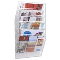 Durable Flexiboxx Literature Holder Wall Mountable 6 Pockets Landscape A4 Clear Ref 1709785400