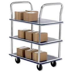 5 Star Facilities Trolley Steel Frame Non Marking Wheels Capacity 120kg 3 Shelf Chrome