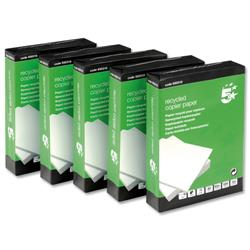 5 Star Eco Copier Paper Recycled Ream-Wrapped 80gsm A4 Hi White [5 x 500 Sheets]